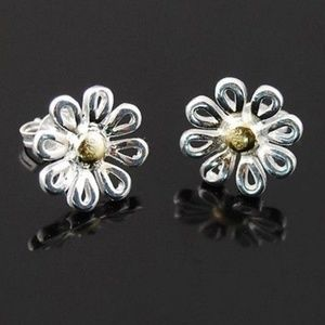 Jewelry - Chrysanthemum Silver Plated Dainty Earrings